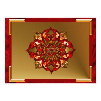 Red Hanukkah Mandala Personalized Invites