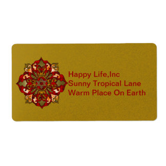 Red Hanukkah Mandala Personalized Shipping Labels