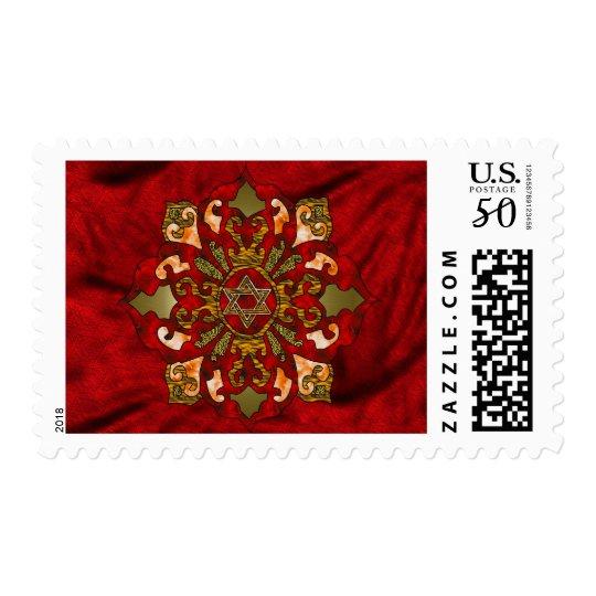 Red Hanukkah Mandala Postage