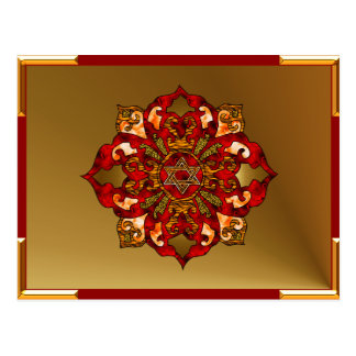 Red Hanukkah Mandala Post Cards