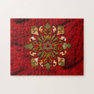 Red Hanukkah Mandala Puzzle