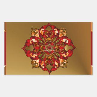 Red Hanukkah Mandala Rectangle Sticker