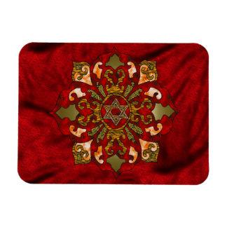 Red Hanukkah Mandala Rectangular Photo Magnet