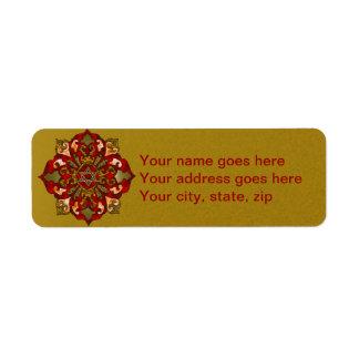 Red Hanukkah Mandala Return Address Label