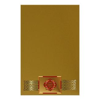 Red Hanukkah Mandala Stationery Paper