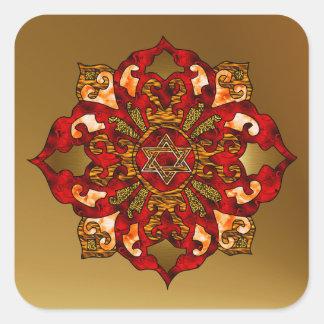 Red Hanukkah Mandala Stickers