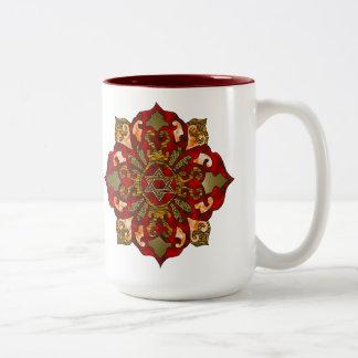Red Hanukkah Mandala Two-Tone Coffee Mug