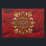 """Red Hanukkah Placemat<br><div class=""""desc"""">Reds,  bronze,  orange,  fill a mandala with a Star of David in the center with bright,  festive textures to celebrate Hanukkah.</div>"""