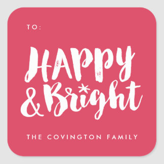 Red Happy and Bright Square Gift Tag Stickers