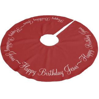 Red Happy Birthday Jesus Brushed Polyester Tree Skirt