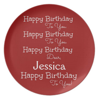 Red Happy Birthday Song Plate
