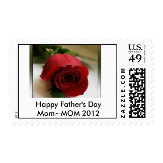 Red, Happy Father's Day Mom~MOM Postage