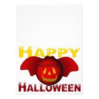 Red Happy Halloween Baseball Bat Custom Invites