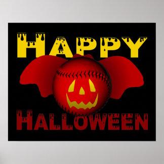 Red Happy Halloween Baseball Bat Poster