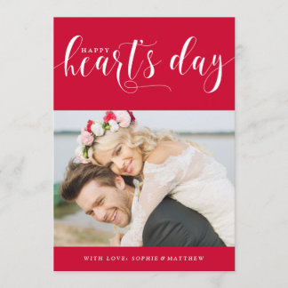 Red Happy Heart's Day | Photo Valentine's Day Holiday Card