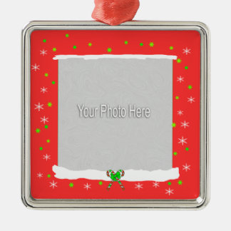 Red Happy Holiday Snowflakes (photo frame) Square Metal Christmas Ornament