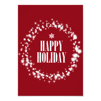 Red Happy Holidays Christmas greeting card