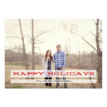 Red Happy Holidays Christmas Photo Flat Cards