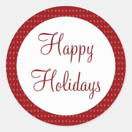 Red Happy Holidays Classic Round Sticker
