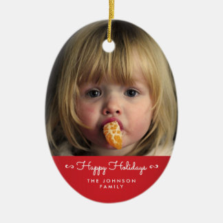 Red Happy Holidays Oval Christmas Tree Ornament