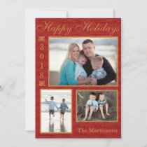 Red Happy Holidays Picture  card - PERSONALIZE IT!