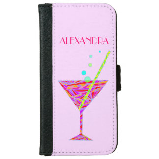 Red Happy Hour Cocktail Glass Martini Colorful iPhone 6/6s Wallet Case