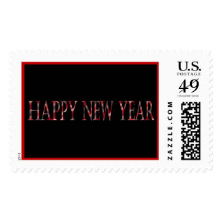 red happy new year postage