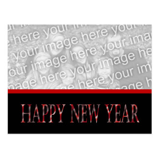 red happy new year postcard