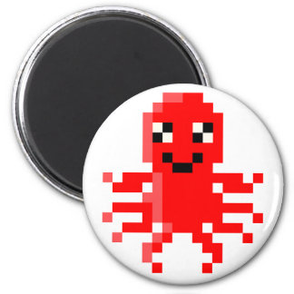 Red Happy Pixel Squid 2 Inch Round Magnet