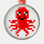 Red Happy Pixel Squid Round Metal Christmas Ornament