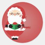 Red Happy Santa Christmas Tags Sticker
