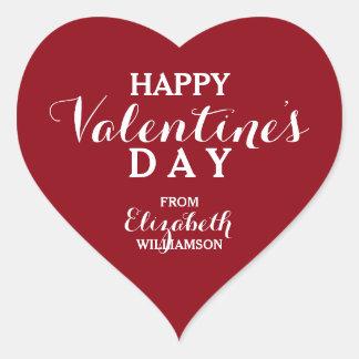 Red Happy Valentine's Day Heart Sticker