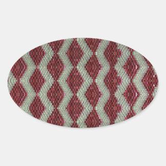 Red Harlequin Bling Oval Sticker
