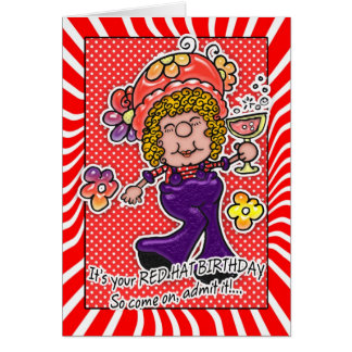 Red Hat Birthday Card - Fun Lady With A Glass Of W