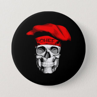 Red Hat Chef Skull Pinback Button