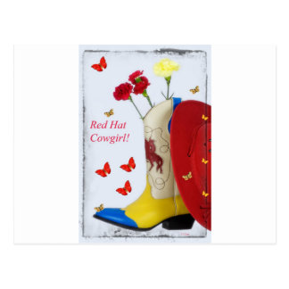 Red Hat Cowgirl Boot Postcard