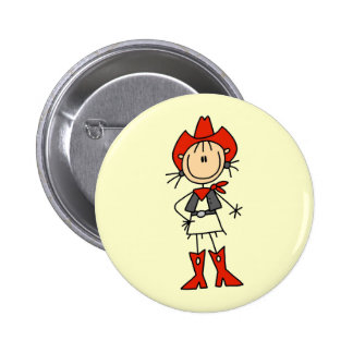 Red Hat Cowgirl Tshirts and Gifts Pinback Button