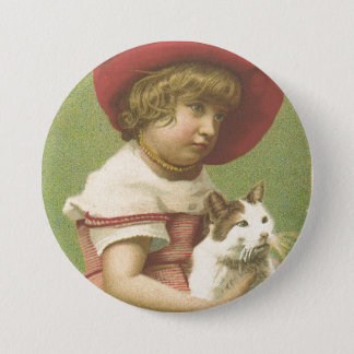 Red Hat Girl Holding A Cat  Ephemera Button
