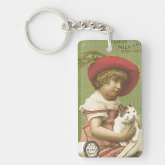 Red Hat Girl Holding A Cat  Ephemera Keychain