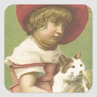 Red Hat Girl Holding A Cat  Ephemera Square Sticker