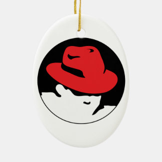 Red Hat Linux Logo Ceramic Ornament