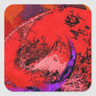 Red Hat Lithograph Square Sticker