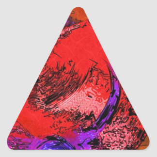 Red Hat Lithograph Triangle Sticker