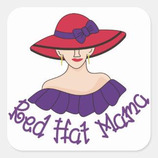 Red Hat Mama Square Sticker