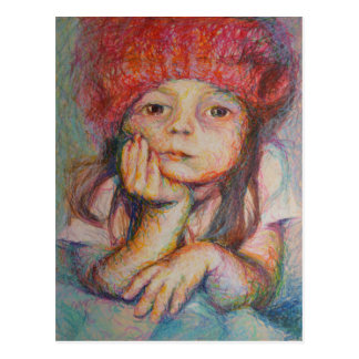 Red Hat - Portrait Of A Girl Postcard