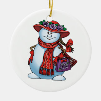 Red Hat Snowlady Ceramic Ornament