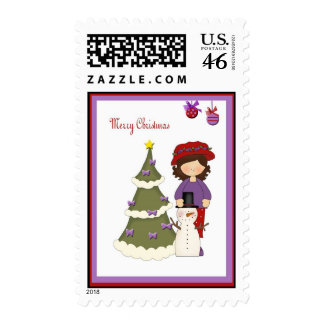 Red Hat Woman Christmas Postage Stamps
