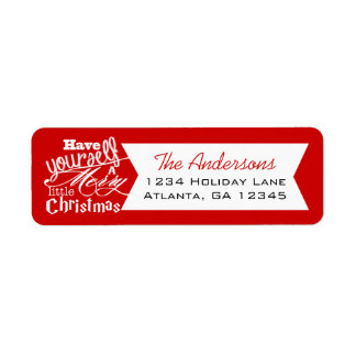 Red Have Yourself a Merry Little Christmas Label
