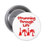Red Hawaain Ukulele Uke Tropical Surf Design Button