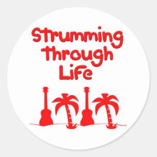 Red Hawaain Ukulele Uke Tropical Surf Design Classic Round Sticker
